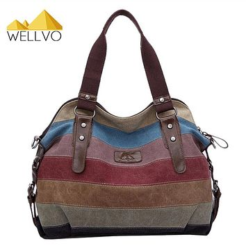 Women Canvas Handbag Striped Patchwork Shoulder Bag Famous Brand Handbags Large Tote Bag Messenger Crossbody Rainbow Bags XA274C