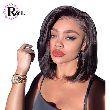 Human Hair Short Bob Wigs For Black Women Brazilian Remy Hair Lace Front Human Hair Wigs Bleached Knots Pre-Plucked