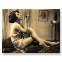 Vintage Naughty French Pin Up Girl Photograph Post Cards from Zazzle.com