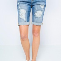 Tori Distressed Denim Cuffed Bermuda Shorts