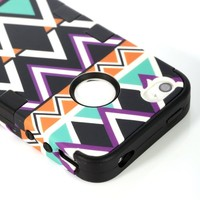 ATC Masione(TM) 3in1 Hybrid High Impact Hard Aztec Tribal Pattern with Pink Silicone Case Cover for iphone 4 iPhone 4S +Screen Protector+Stylus (Black Aztec Tribal Pattern)
