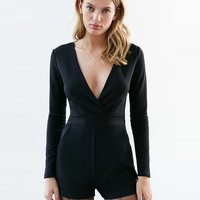 Plunging Long Sleeve Romper