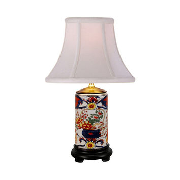 Imari Floral Motif Cylindrical Porcelain Vase Table Lamp 15""