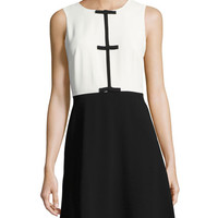 CeCe by Cynthia Steffe Sleeveless Contrast-Bow Dress, Black