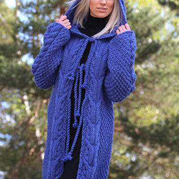 PDF pattern. Hand knitted hooded cable knit sweater. Digital pattern from Ilze Of Norway.