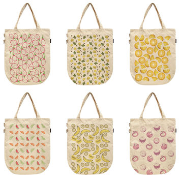Women Watercolor Fruit Patterns Printed Canvas Tote Shoulder Bags WAS_39