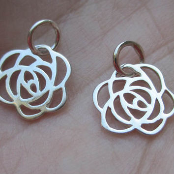 Sterling Silver Tiny Rose Charm(one charm)