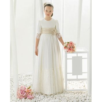 2017 Chiffon Lace Three Quarter first communion dresses for girls Flower Girl Dresses for weddings girls pageant dresses