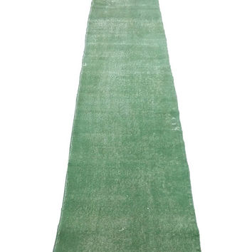ON SALE Green Overdyed Turkish Vintage Runner Rug Empty Field No Design 16'1'' x 2'2'' Feet ,  490 x 65 cm Free Shipping