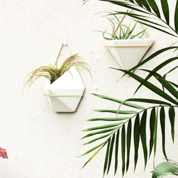 White Ceramic Wall Hanging Planter Pots