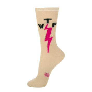 WTF Sparkle Sheer Crew Socks in Gold and Pink
