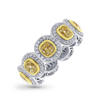 4.64ct Cushion Cut Centers and 0.86ct Side 18k Two-Tone Gold Natural Yellow Diamond Ring