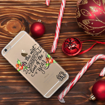 Christmas Iphone 6 Plus case clear, Holiday Iphone 6 case clear, Christmas gifts under 25, It's the most wonderful time of the year (1605)