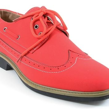 Men's Wing-tip Vegan Suede Rockabilly Casual Red Oxford Shoes