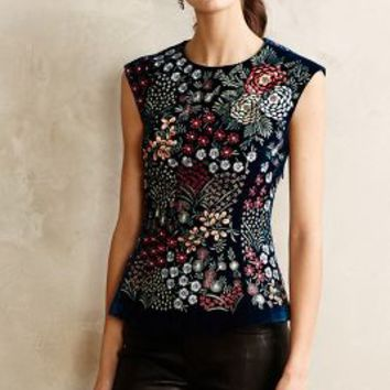 Embroidered Velvet Peplum Top by Payal Pratap Holly