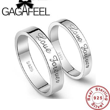 Genuine 100% Pure 925 Sterling Silver Ring New Arrival High Quality Beautiful Forever Lover Letters Couple Rings for Men Women