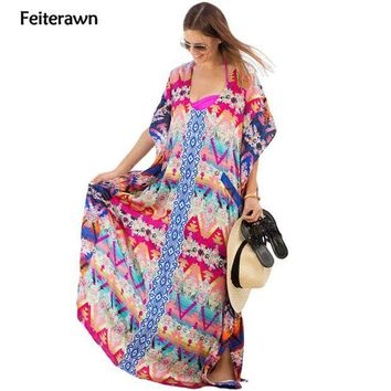 DKLW8 Feiterawn Women Multicolor Print Kaftan Beach Long Dress Tassel Chiffon Loose Beachwear Sexy Bikini Cover Up DL42119