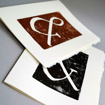 Two Ampersand Greeting Cards Typography Linocut by CursiveArts