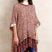 Moth Amaris Fringed Poncho in Purple Motif Size: One Size Sweaters