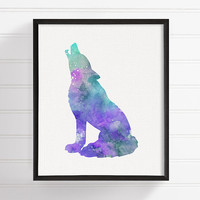 Wolf Wall Art, Howling Wolf Print, Wolf Poster, Wolf Painting, Wolf Wall Decor, Watercolor Wolf, Animals Painting, Wildlife Animals