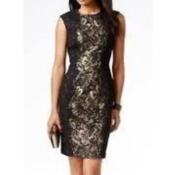 Betsey Johnson Lace Side Metallic Jacquard Sheath Dress