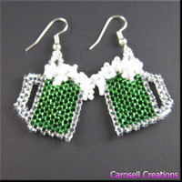 St Patricks Day Green Beer Beadwork Dangle Seed Bead Earrings