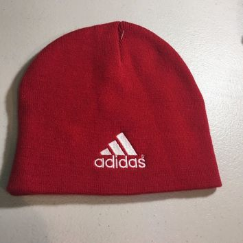 BRAND NEW ADIDAS RED AND WHITE KNIT HAT SHIPPING