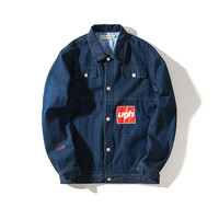 Casual Alphabet Print Denim With Pocket Training Jacket [7929485379]