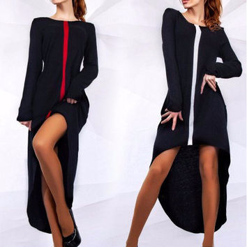Autumn Irregular Long Sleeve One Piece Dress [6048349889]