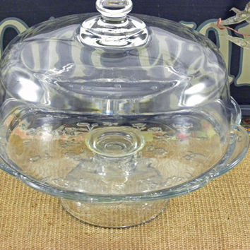 Cake stand, Vintage Glass pedestal stand with dome. Beautiful embossed flower design with scalloped edges around the cake plate