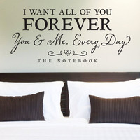 Wall Vinyl Quote  I Want All of You Forever Quote by aubreyheath