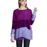 Block Mesh Long-Sleeve Pullover Knitted Shirt