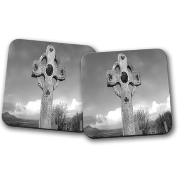 Celtic Cross in Grey Coaster Set, Home Decor, Kitchen Sets, Table Designs, 2 Coasters