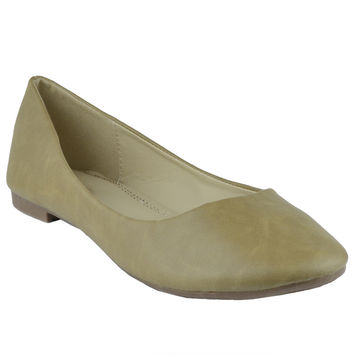 Womens Slip On Ballet Flats Taupe
