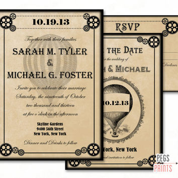 Steampunk Wedding Invitation Set PRINTABLE - Steampunk Wedding Suite Printable - Victorian Wedding Invitation - Save the Date - RSVP Card