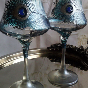 SET of 2 Hand Painted wine glasses Peacock  theme in turquoise, blue and silver color