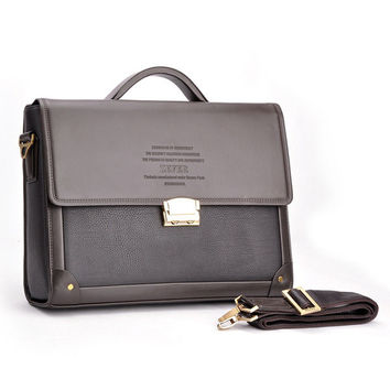 Men Business PU Coded Lock Shoulder Briefcase