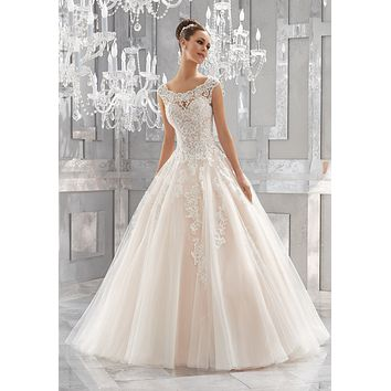 Blu by Morilee 5573 Massima Lace Tulle Ball Gown Wedding Dress