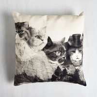 Cats Meow-nt Rushmore Pillow by ModCloth