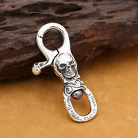 100% Pure 925 Sterling Silver Key Chains Skull Fashion Domineering Skeleton Punk Jewelry For Men Special Keyring New Gift Hot
