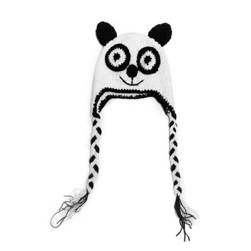 Lovely Handmade Crochet Knit Panda Baby Toddler Kids Hat Cap Warm 100% Cotton Baby Cute Cartoon Panda Hat