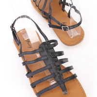 Black Strappy Thong Slingback Sandals Faux Leather