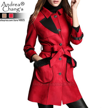 2015 autumn winter designer women's outwear coats trench khaki red faux leather with belt fur pocket fashion brand coat trench