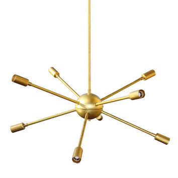 8 Arm Mid Century Modern Round Sputnik Chandelier