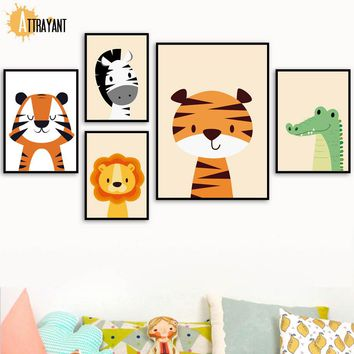 Tiger Lion Zebra Crocodile Wall Art Canvas Painting Nordic Posters And Prints Wall Pictures For Kids Baby Boy Girl Room Decor