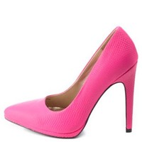 Hot Pink Python Textured Pointed Toe Pumps by Charlotte Russe