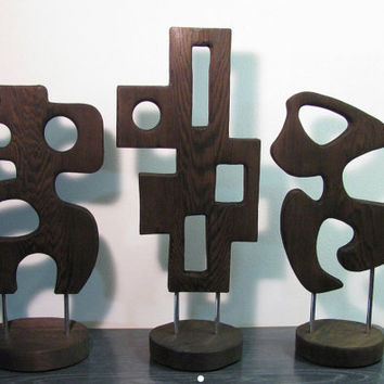 LARGE Abstract Mid Century Modern Burnt Wood Art Sculpture -- Straight Up By SuZanna Anna