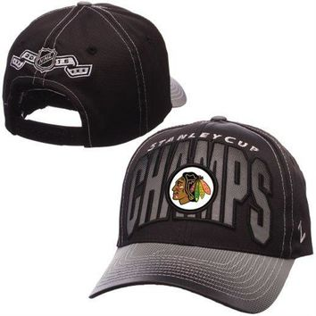 Zephyr Chicago Blackhawks Black 2015 Stanley Cup Champions Adjustable Hat