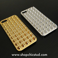 Studded iPhone 5 / 5s Case - Silver or Gold Chrome Metallic - Silver Spikes