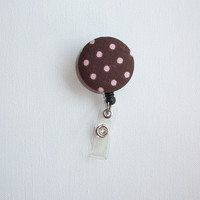 Retractable ID Badge Holder Reel  - Fabric Button - Brown with Pink Polka dots